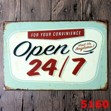 Open 24/7 Shop Store Favor Metal Signs 30*20cm Sign ForBar Pub Hotel Coffee metal poster vintage(China)