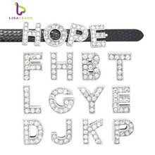 "8MM Full Rhinestone Slide Letters ""A-M  "" (10 pieces/lot) Slide Charms Fit DIY Wristband & Bracelet LSSL01-A*10---LSSL01-M*10"