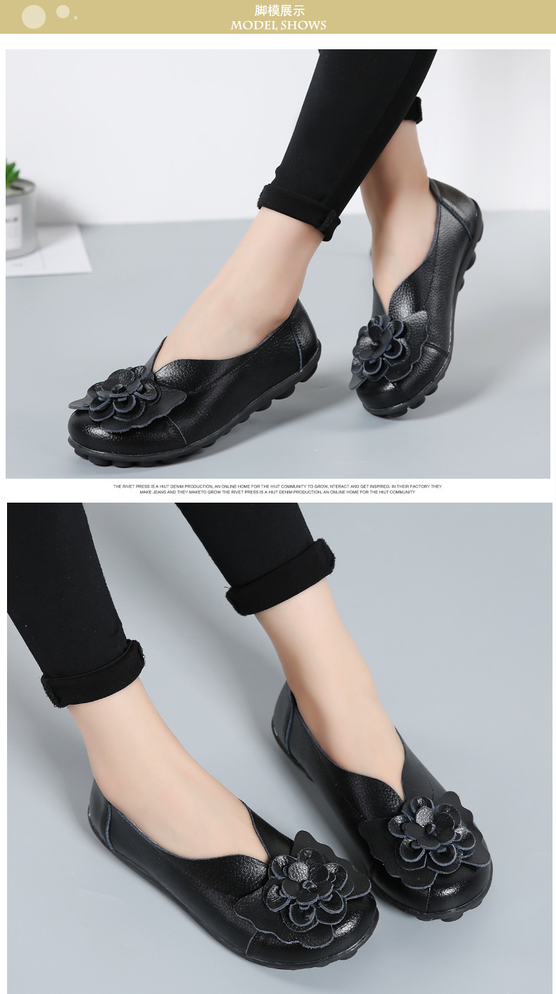 Women Real Leather Shoes Flower Moccasins Mother Loafers Soft Leisure Flats Casual Female Driving Ballet Footwear Women Shoes 11