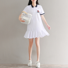 Women Polo Collar Short Sleeve White Dresses Japanese Mori Girls Temperament Fishtail Cotton T-shirt Cute Dress with Pockets