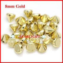 8mm ABS Golden Plastic Spike Studs Rivets Beads hand Sewing on nailhead DIY for Clothing/ jewelry 500pcs/lot