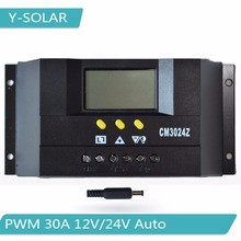 PWM 30A Solar Charge Controller 12V/24V Auto Solar Panel Battery Charge Regulator with Big LCD Display CM3024Z