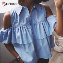 2017 summer ladies fashion casual short shirts Ruffles sleeved Turn-down Collar loose blouse white blue plus size shirts