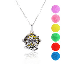 Hollow Owl Cage Pendant With Can be add purfume Multicolor Ball Retro Copper/White/Silver Party For Women,Girl Jewelry 1 set(China)