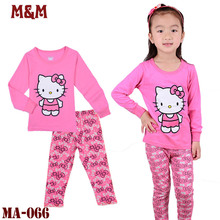 2017 Autumn high quality Cotton Pajamas sets Hello Kitty Boy Girls Sleepwear Kid Children Baby Long Sleeve Pyjamas Clothing sets