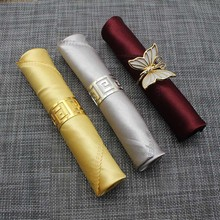 "50pcs/lot 18"" Gold/Silver Multi Color Polyester Square Folding Cloth, Hotel Modern Europe Luxury Table Napkin For Wedding Party(China)"