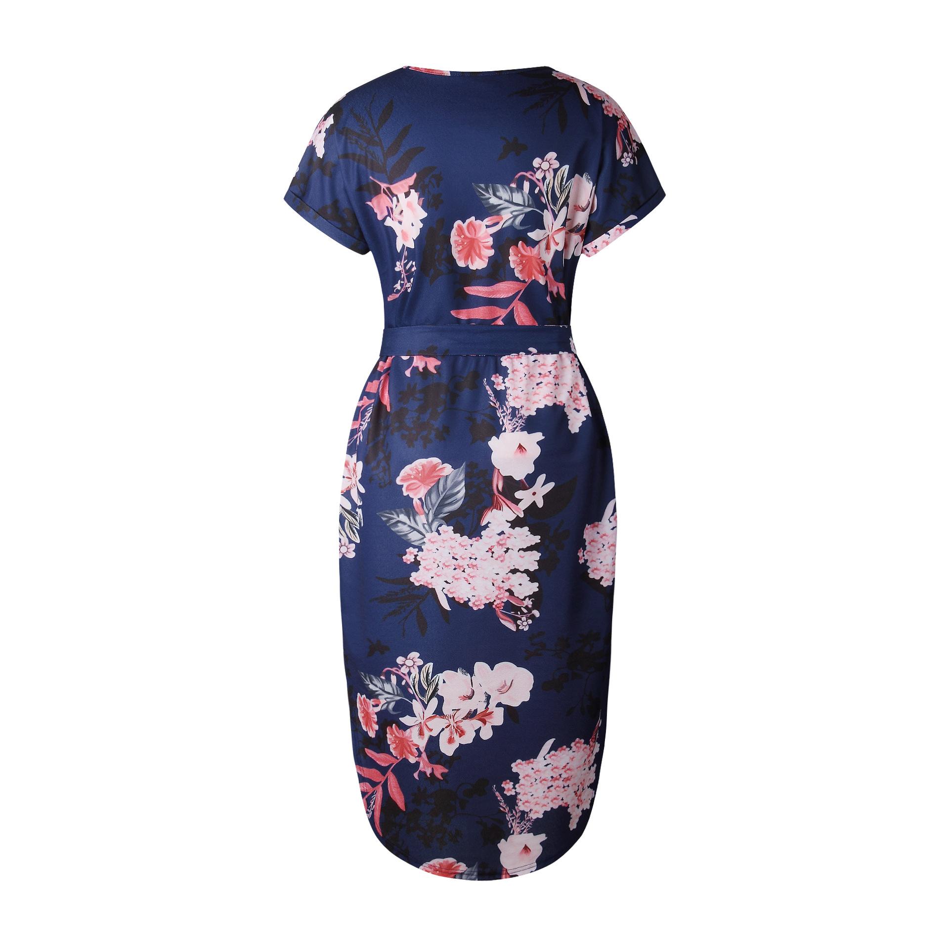 2018 Summer Dress Women Print V Neck Short Sleeve Robe Female Dresses Casual Sashes Midi Dress Ladies Elegant Vestidos Dropship 32