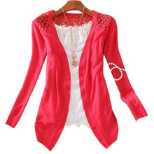 Women Candy Color Slim Thin Lace Hollow Out jacket Women Knitted Cardigan Sweater Tops Irregular Hem Long Sleeve Outwear Coat(China)