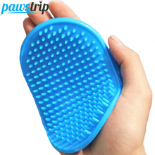 Soft Rubber Dog Bath Brush Comb Cleaning Massage Grooming Glove Cat Brush Blue Pink(China)