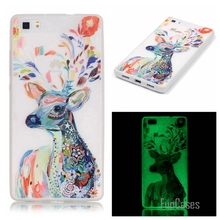 New Fashion Luminous night Slim phone Cases for Huawei Ascend P8 Lite P8 Mini Fluorescence Soft TPU Silicon Gel back cover skin