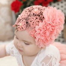 2016 Fashion Cute Flower Pearl Decorate Hair Headband for Baby Hollow Elastic Comfortable for Wearing Head Band