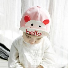 Lovely Baby Hats Hello Print Animal Cartoon Kids Baseball Cap Palm Cute Boys Girl Beanies Soft Cotton Caps Infant Visors Sun Hat(China)