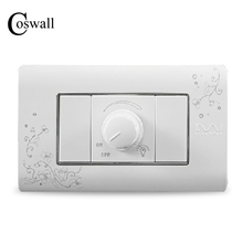 COSWALL Luxury Wall Dimmer Regulator Switch 300W Maximum Ivory White Brief Art Pattern Light Switch 118*72mm AC 110~250V()