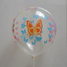 12 inch2.5g Transparent butterfly printing balloon 50pcs latex round balloons wedding party birthday party supplies balloon