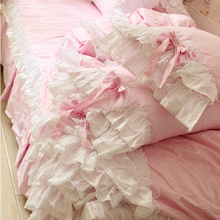 Princess luxury pink lace beding set,twin full queen,french romantic elegant bedcloth cotton bedskirt pillowcase duvet cover