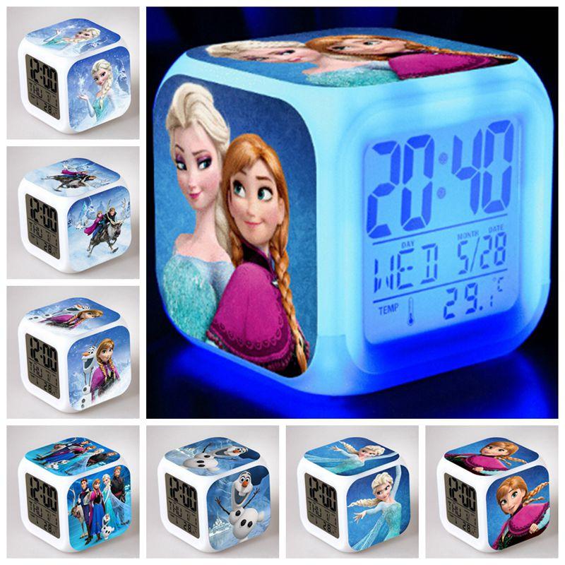 Custom models - 7 Colors Queen snow Anna Elsa dolls Olaf Clock Action Figure LED flash Touch Alarmclock educational Kids Toys<br><br>Aliexpress