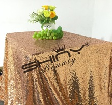 Free Shipping!! 50''*50'' Rose Gold Sequin Table Cloth, Shiny Rose Gold Table Linens For New Years Eve Party Sequin Linens