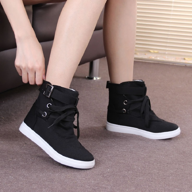Women autumn 2017 hotsale fashion solid causal lace up Canvas Women Boot round toe flat boots black grey ST1511<br><br>Aliexpress