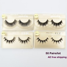 50 pairs/lot Wholesale Eyelashes faux mink lashes Handmade false eyelash 3D strip mink eyelashes fake faux eyelashes Makeup(China)