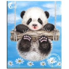 Diy diamond painting square drill rhinestone pasted painting cross stitch happy panda diamond mosiac picture crafts Needlework(China)