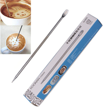 1Pc Useful Stainless Steel Barista Cappuccino Latte Espresso Coffee Decorating Pen Art Household Kitchen Cafe Tool