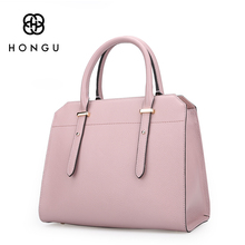 HONGU Famous Brands Design Cowhide Genuine Leather Bags Women Handbags Shoulder Versatile Bags Tote Embossed Boston Fashion 2017(China)