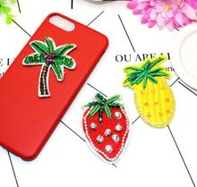 2pcs/lot  Min.$15 (Mixed Order) cloth embroidery fabric tree strawberry pineapple Cell Phone DIY Alloy Decoration charms