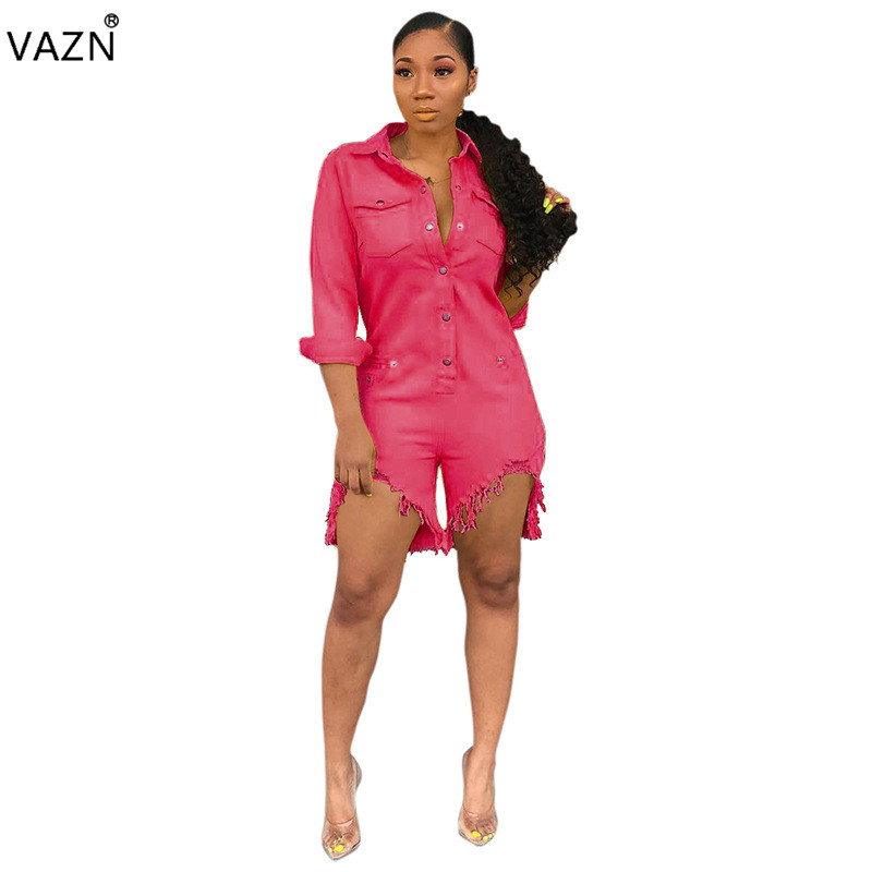 VAZN summer 2019 new women casual fashion long sleeve lapel pockets tassel personality jumpsuits short pants SMR9245