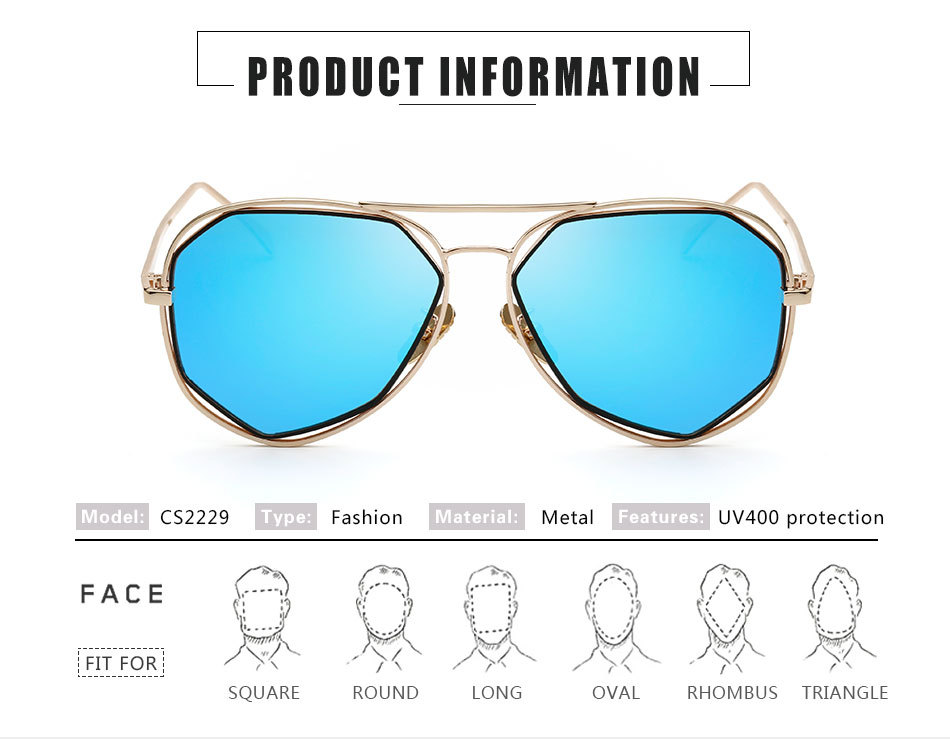 2017 new sunglasses 229 fashion metal trend retro ladies glasses
