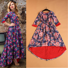 Free Shipping ! 2015 Early Spring New Fashion Street Women's Elegant 3/4 Sleeve Pink Flowers Blue Dovetail Dresses