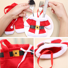 2PCS/Set Reusable Christmas Santa Suit Clothes Knives Forks Bag Silverware Holder Pockets Christmas Party Table Decorations(China)
