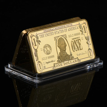 WR 24k Gold Bar Collectible One Dollar Gold Plated Souvenir Bar American Currency Bill Note Art Crafts Wtih Plastic Case