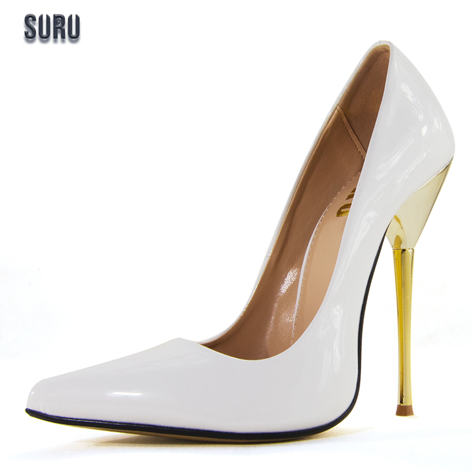 SURU White Wedding Pumps for Bride and Bridesmaid Pointed Toe High Heels With 12cm Goldren Heeled Womens Party Shoes<br>