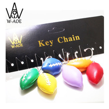 12pcs Rugby Key Chains Car Key Rings Colorful HANDMADE PU Bag Pendant Wedding Sport Team Game Gift Travel Souvenir 7045