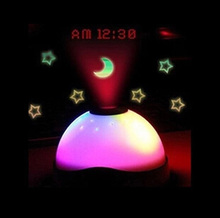 Rotation Light Projector Alarms Clock Nightlight Led Light Time shown on the Ceiling Multifunction Night Light Christmas gift