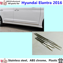 car styling cover detector stainless steel Side Door Body trim stick Strip Molding Streamer lamp for Hyundai Elantra Avante 2016(China)