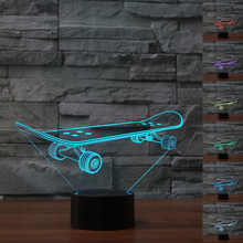 NEW Sport Skateboard 3D Illusion Night Light 7 Color Changing Atmosphere Light Table Lamp Child Kids Room Decor Light Best Gifts(China)