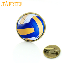 TAFREE Best Deals Ever beach volleyball picture badge pin Exquisite women men's Sports volleyball art brooches pins jewelry T255(China)