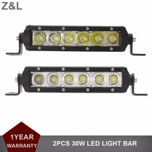 "2pcs 8"" 30W LED Work Light Bar Driving Fog Lamp Offroad 12V 24V Auto SUV Car Pickup Wagon Truck Boat Tractor UTV 4X4 Headlight"