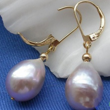 Natural Pearl Earring. Huge AA 15mm Lavender Drip Freshwater Dangle Bridesmaid Earring . Wedding Party Jewelry.Free Shipping
