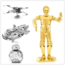 C3PO open soon Star Wars 3D Metal assembling model PUZZLE 18 styles all 2 sheets Collection of ornaments Children's gift(China)
