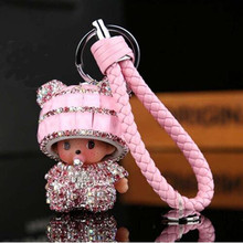 10 Colors Braided Leather Monchichi Dolls Rhinestone Monchichi Keychain Women Bag Charm Key Chains Key Rings porte clef(China)