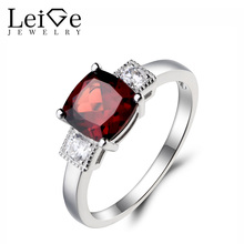 Leige Jewelry Cushion Cut Engagement Ring Natural Red Garnet Ring Fine Gemstone 925 Sterling Silver January Birthstone Gifts
