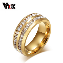 Vnox Two Row Crystal Ring for Women Gold-color Stainless Steel Wedding Elegant Anel