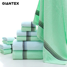 GIANTEX 3-Pieces Gradient Small Square Pattern Cotton Towel Set Bathroom Super Absorbent Bath Towel Face Towel Hand Towel U1145