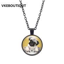 Pug Dog Pendant Necklace Pug in a Tea Cup Art Glass Cabochon picture Statement Jewelry Silver Chain Necklace Women Gift 2017 New(China)