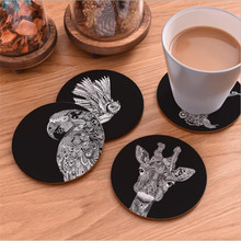 COCODE Creative Animal Wood Coasters Cup Pad Non-Slip Heat Proof Coffee Drink Coasters Cup Mat DIY Hand Painted V3205