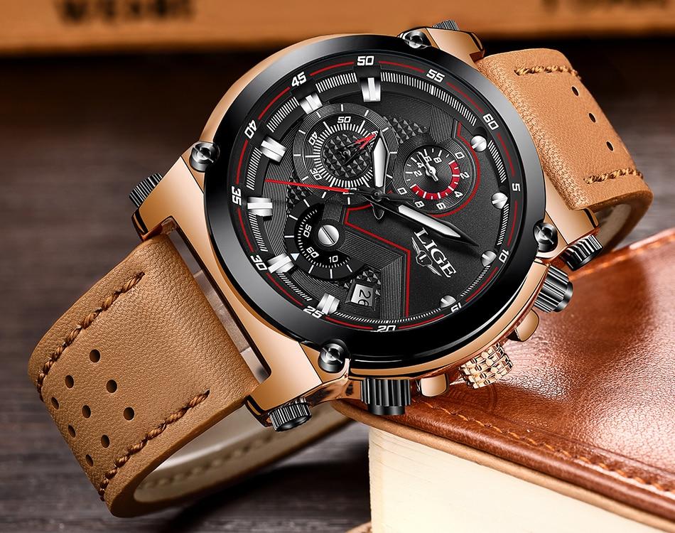 Reloje 18 LIGE Men Watch Male Leather Automatic date Quartz Watches Mens Luxury Brand Waterproof Sport Clock Relogio Masculino 17