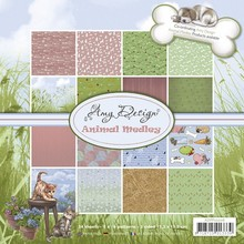 Find it Trading Holland - Amy Design Paper Pad ADPP10006 Animal Medley - Background pattern paper for cardmaking & scrapbooking