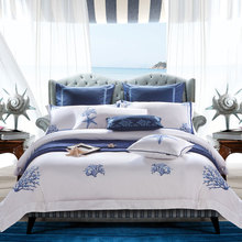 IvaRose Luxury 100%cotton Embroidery bedding set white satin duvet cover sets Starfish pattern hotel bed linen bedclothes